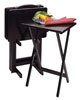 TV Table Tray - 5 Pc Set with Stand - Black