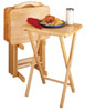 TV Table Tray - 5 Pc Set with Stand - Natural Wood