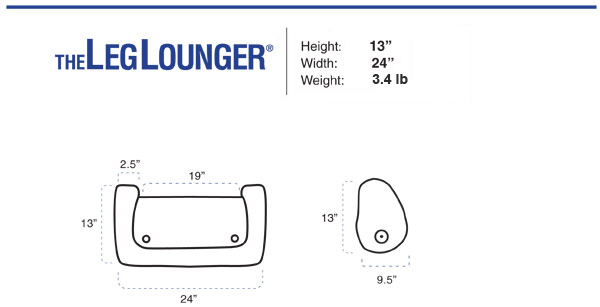 BedLounge Reading Pillow - Leg Lounge Dimensions