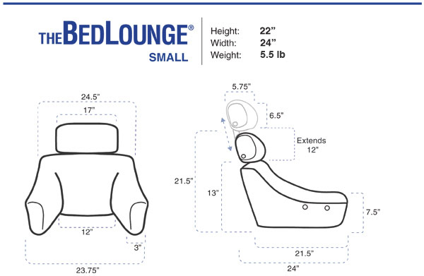 BedLounge Reading Pillow - Petite Bedlounge Dimensions