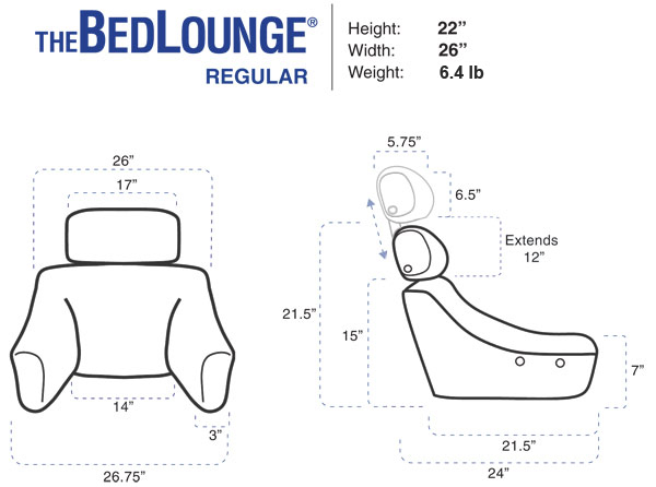 BedLounge Reading Pillow - Standard Bedlounge Dimensions