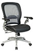 Office Star Space Chair 3680 - Air Grid Back Managers Chair with Grain Leather Seat and Adjustable Lumbar Suppport