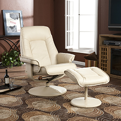 Recliner and Ottoman - Bonded Leather - Taupe